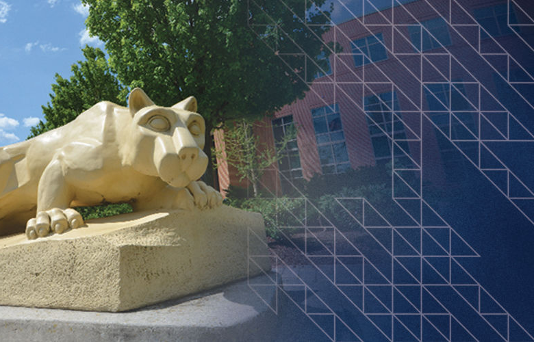 Lion Shrine and fountain on the quad at Penn State Harrisburg